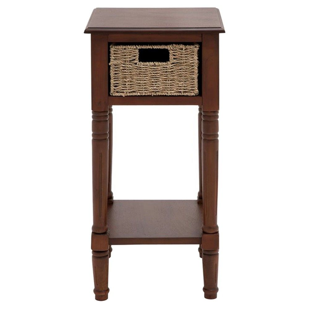 the tanned wood basket accent table brown products with baskets applique runner lucite coffee square legs hall console drawers and chairs round cocktail pier one furniture catalog