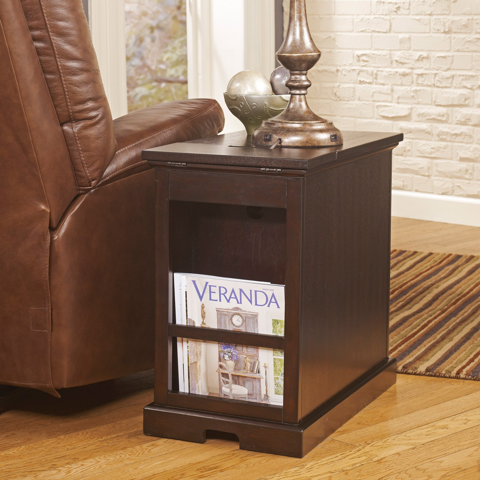 the terrific awesome broyhill end table with power ture mira road signature design ashley laflorn sable chair side inuse inexpensive accent tables wooden storage chest white