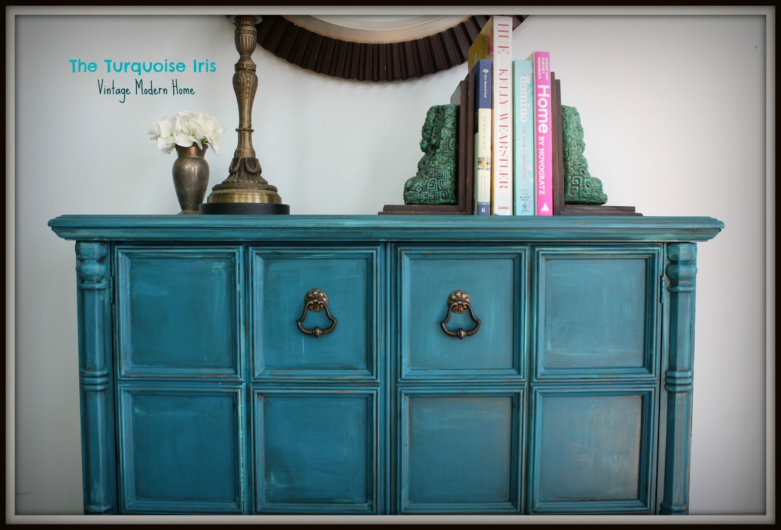 the turquoise iris furniture art teal vintage foyer table side logo for julie distressed blue accent west elm mobile chandelier farmhouse sliding door console nautical pendant