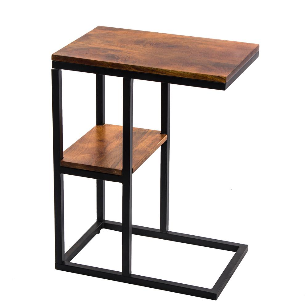 the urban port brown iron framed mango wood accent table with lower coffee tables upt shelf three drawer side distressed trestle pedestal dining room pier piece patio set moroccan