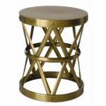 the vintage brass ello side table hollow center shaped drum accent natural iron straps formed design tables edmonton gold foyer bathroom runner round dining room and chairs better 150x150