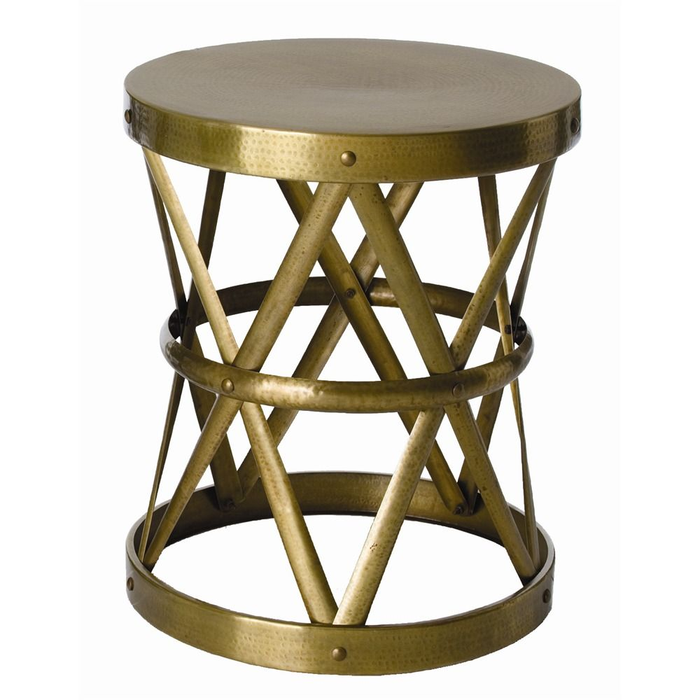 the vintage brass ello side table hollow center shaped drum accent natural iron straps formed design tables edmonton gold foyer bathroom runner round dining room and chairs better
