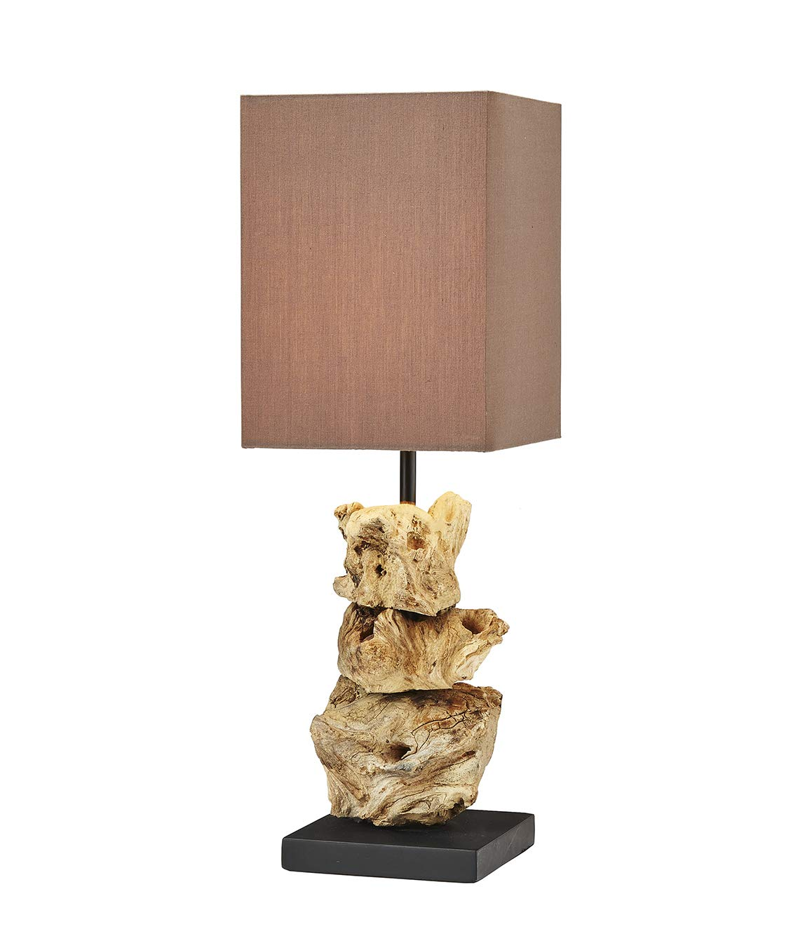 thentique driftwood table lamp natural rustic reclaimed wood accent lamps sculpture handmade earthy finished brown cotton fabric shade perfect desk ikea cube storage entrance pier