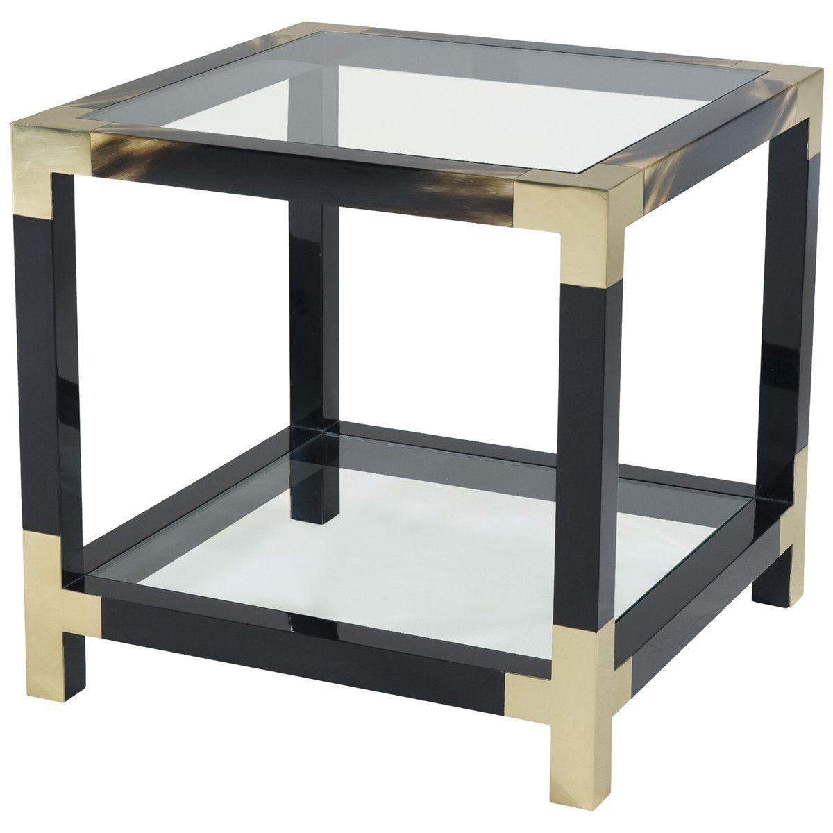 theodore alexander cutting edge occasional accent table square glass black lacquered and faux horn painted the inset top with brass edged corners legs joined stretchers used west