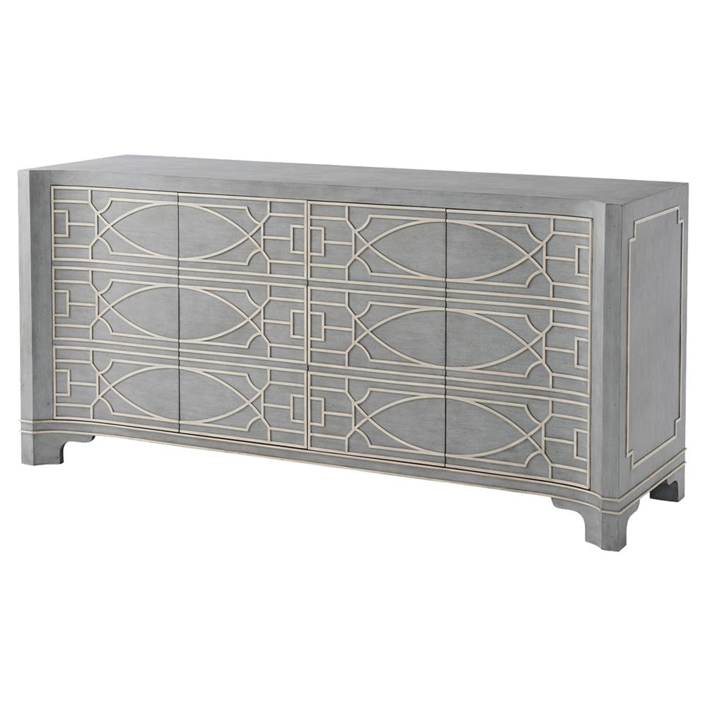theodore alexander morning room vintage blue white fretwork sideboard product accent table kathy kuo home dale tiffany glass wall art diy sofa patio bar cover west elm free