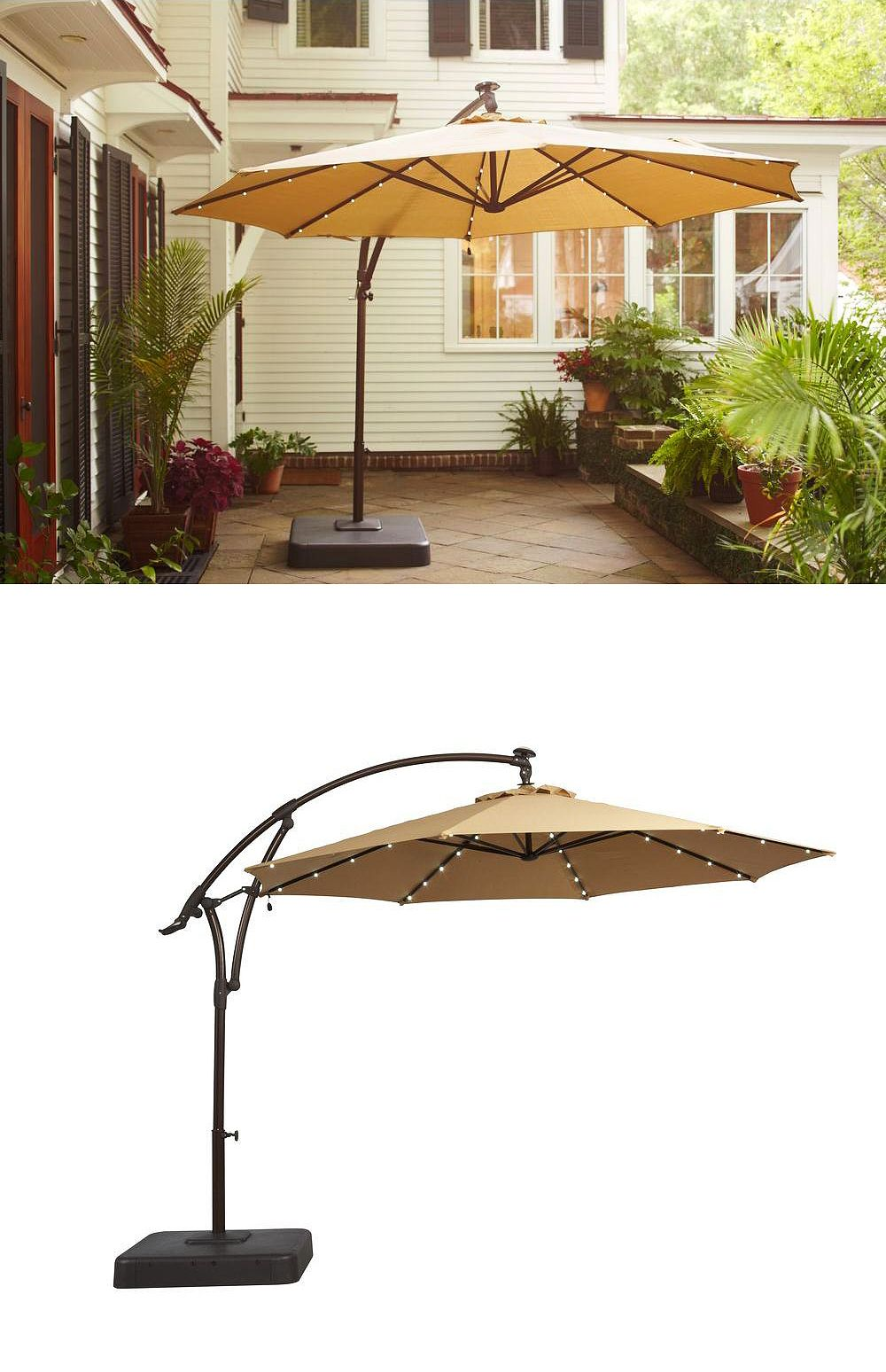 there something special about this patio umbrella has small spring haven accent table solar powered led lights embedded provide gentle glow night pineapple cutter garden supplies