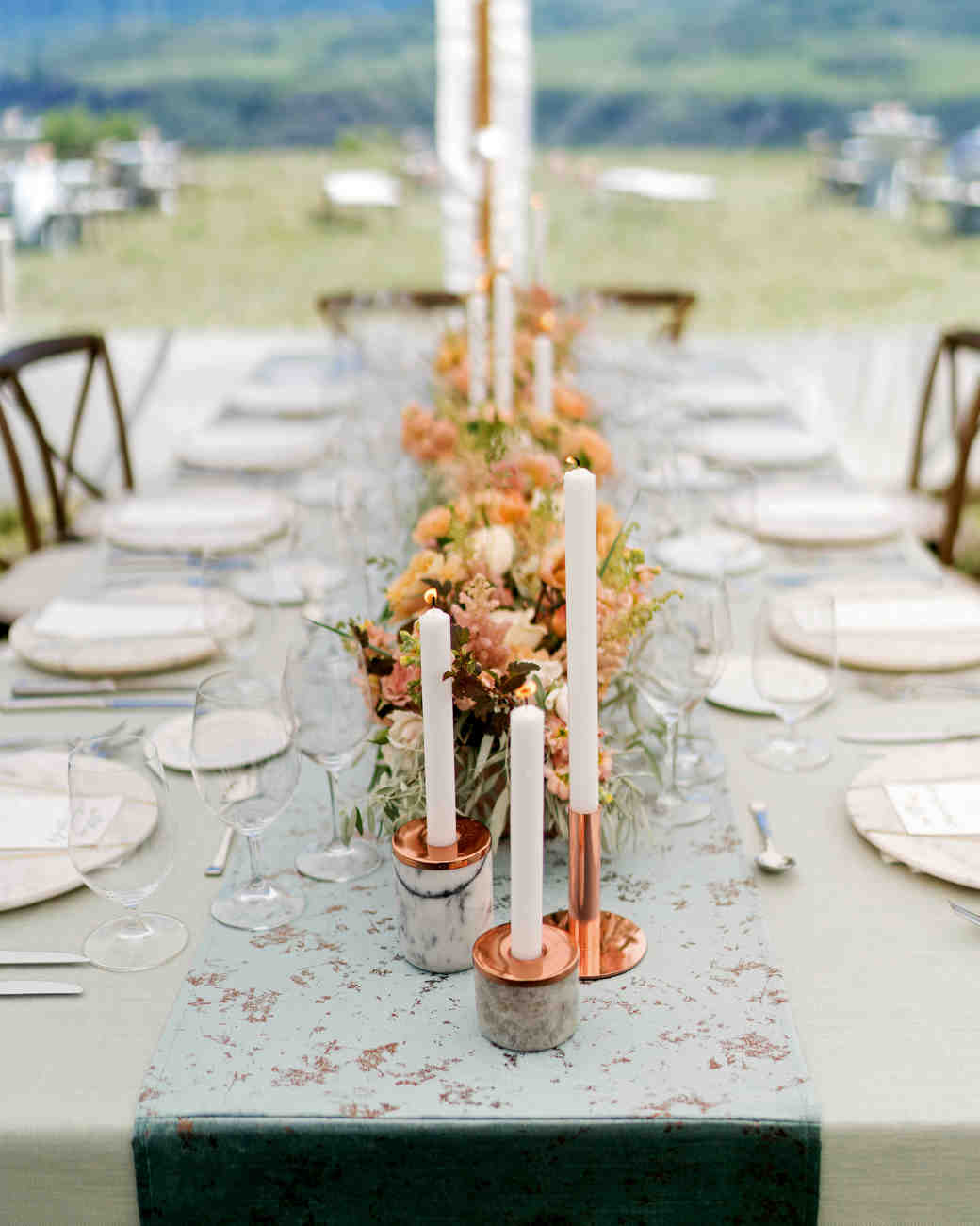these statement linens will take your wedding reception the next chowen graphy vert artistic accents tablecloth level martha stewart weddings uttermost asher blue accent table