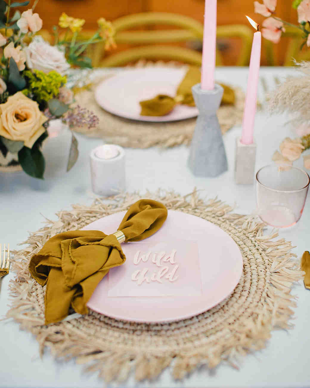 these statement linens will take your wedding reception the next katie pritchard vert artistic accents tablecloth tablescape textiles sheesham table dark wood bedside cabinets