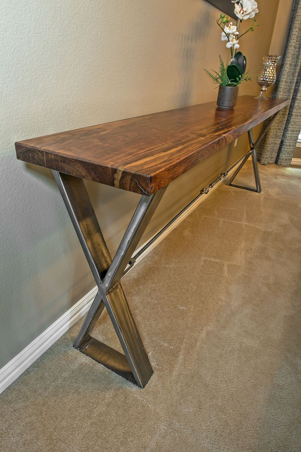 this beautiful caribbean rosewood accent table with brushed metal cross base completely built hand make knotty alder ash hickory patio furniture toronto target coffee room