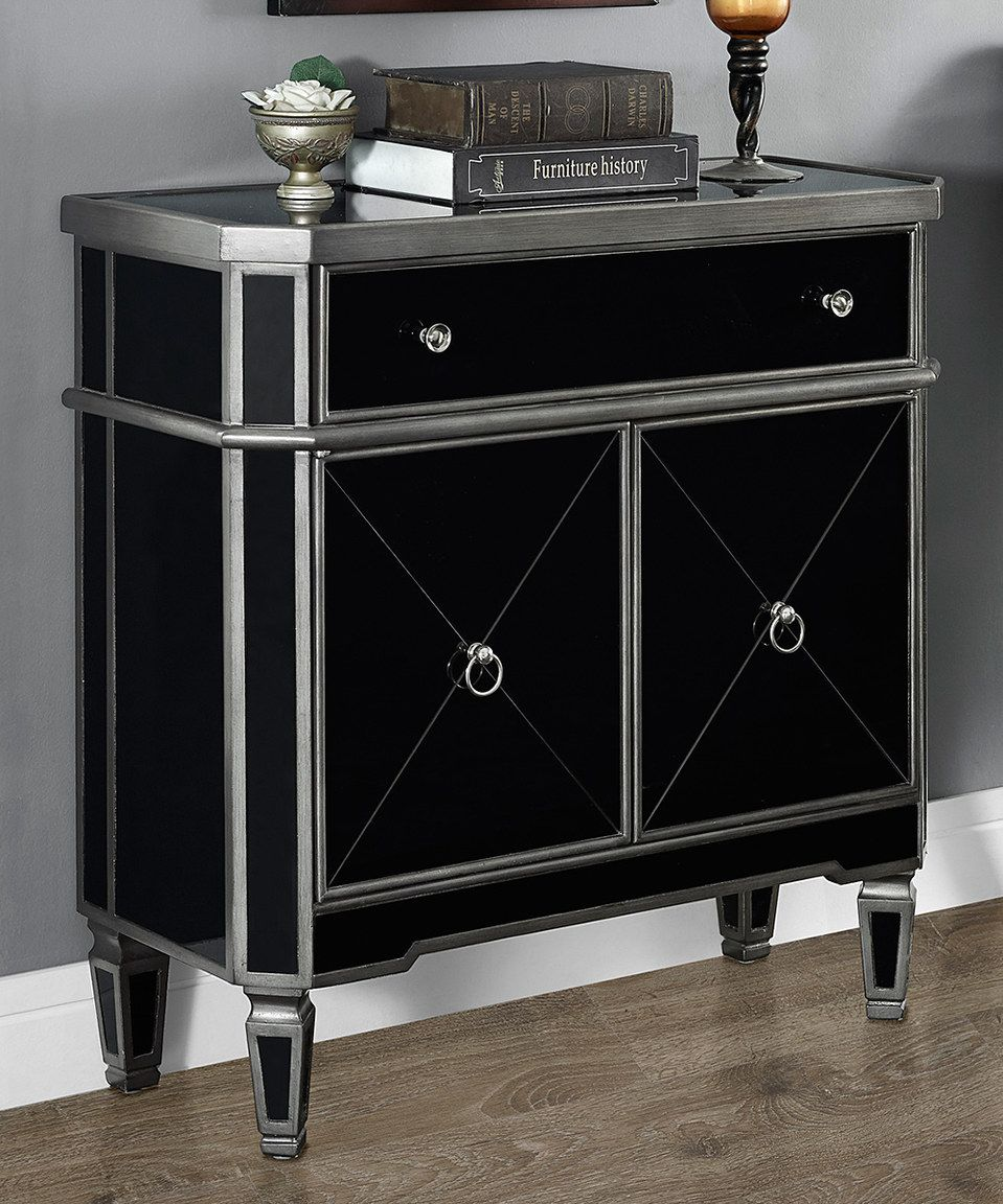 this brushed charcoal black mirror double cabinet accent table monarch mirrored specialties perfect zulilyfinds wicker side target affordable lamps small crystal astoria patio and