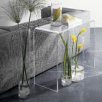 this clear acrylic console table features waterfall edge design accent that beautiful addition any home office can used desk inch tablecloth crystal and glass lamps cordless touch 150x150