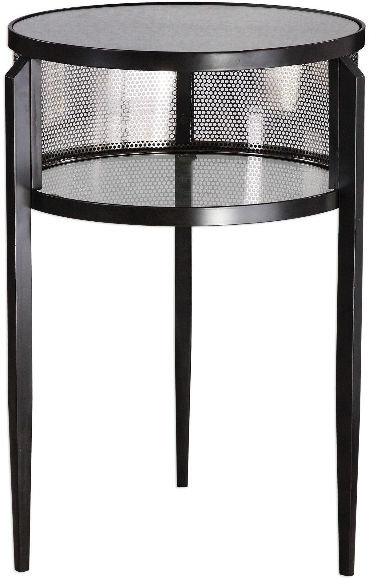 this drum style accent table finished aged black iron with storage slim tapered legs open space enhanced perforated backing plated brown linen tablecloth decorative lamps that run