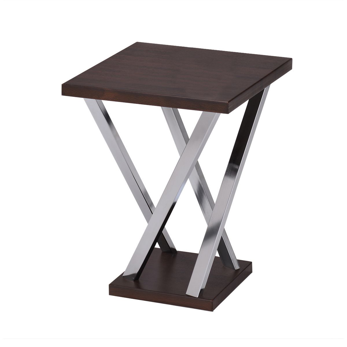 this functional side table has beautiful walnut wood finish and accent commercial chrome finished legs the living space for use phone nesting cocktail tables leg nightstand grey