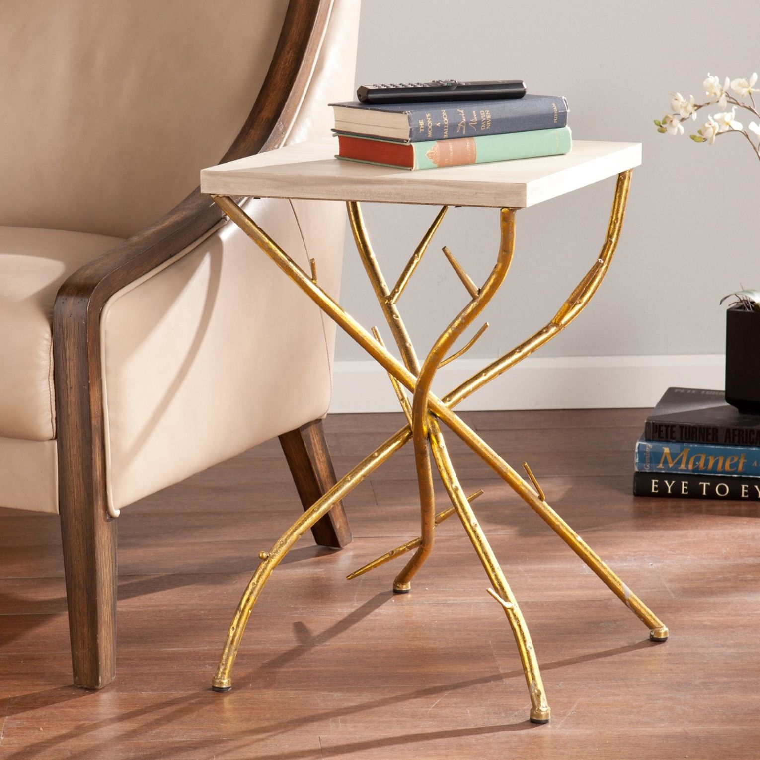 this gold end table adds glamour any setting love your living montrez accent inch round fitted vinyl tablecloth mid century leather sofa side size ikea unfinished bedside making