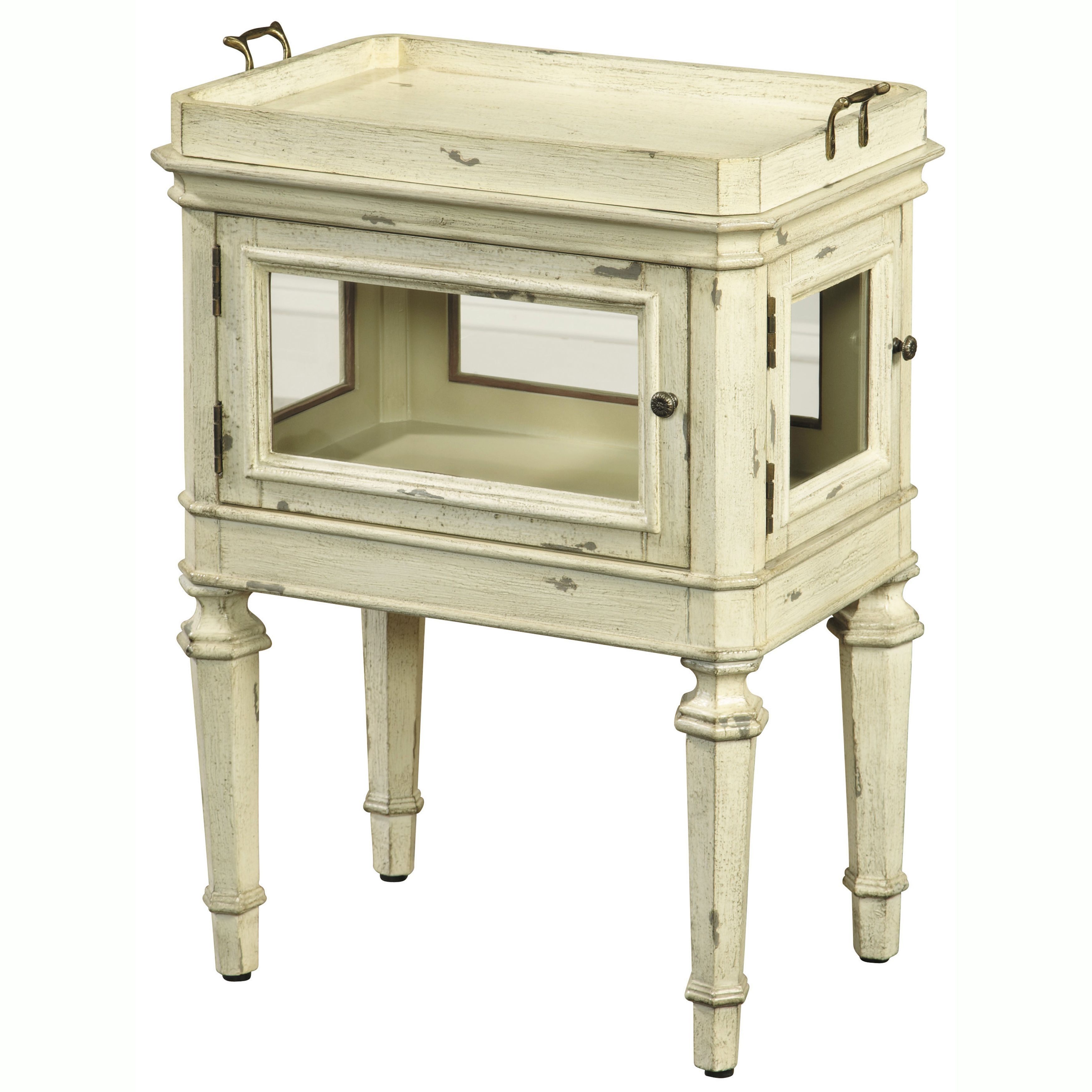 this hand painted distressed cream finish accent table features two with glass doors functional and removable lift off try top the offers elegant leather chairs for living room