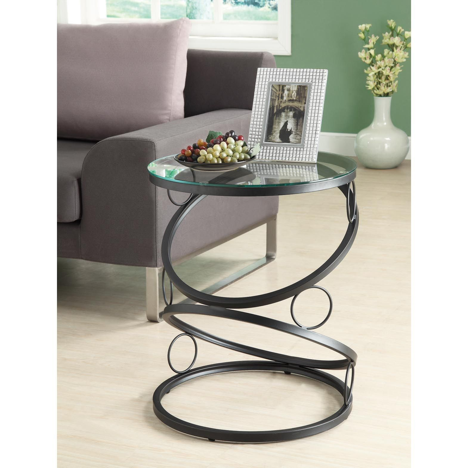 this modern glass accent table features and black matte metal design the rings forming base provide updated look for any living venetian bedside tables battery powered hanging