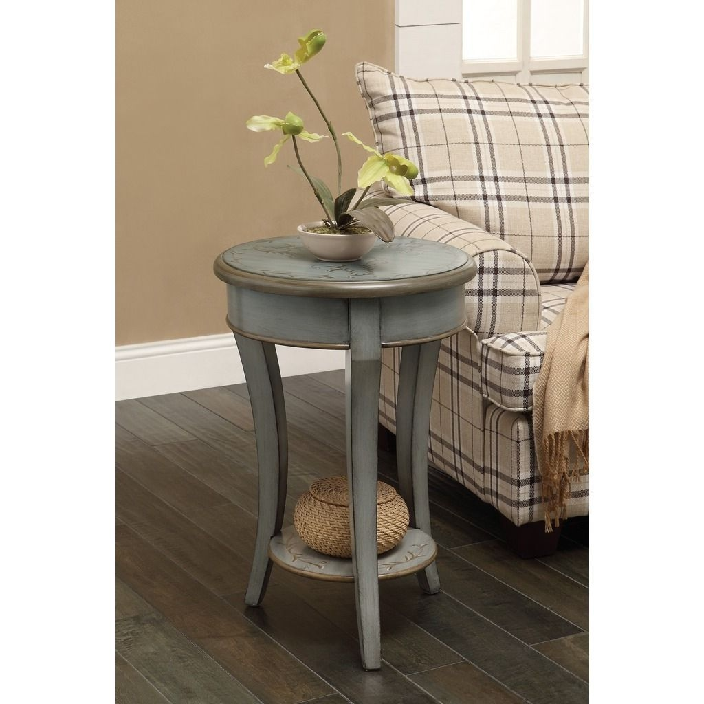 this round accent table charming and graceful addition any distressed space henley grey green finish has hand painted floral pattern for pottery barn dorm mosaic indoor small low