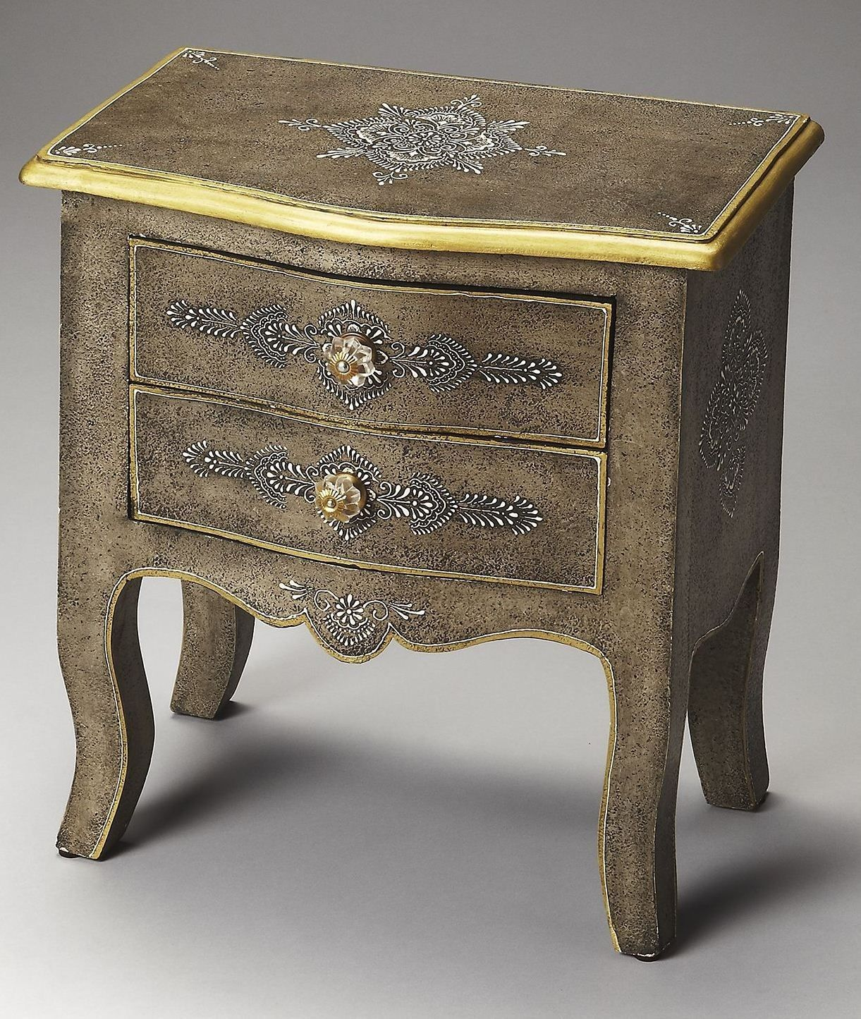this two drawer hand painted accent chest made select tables chests sheesham wood solids gold trimmed top glass pull plus handcarved legs and apron dining table clearance modern