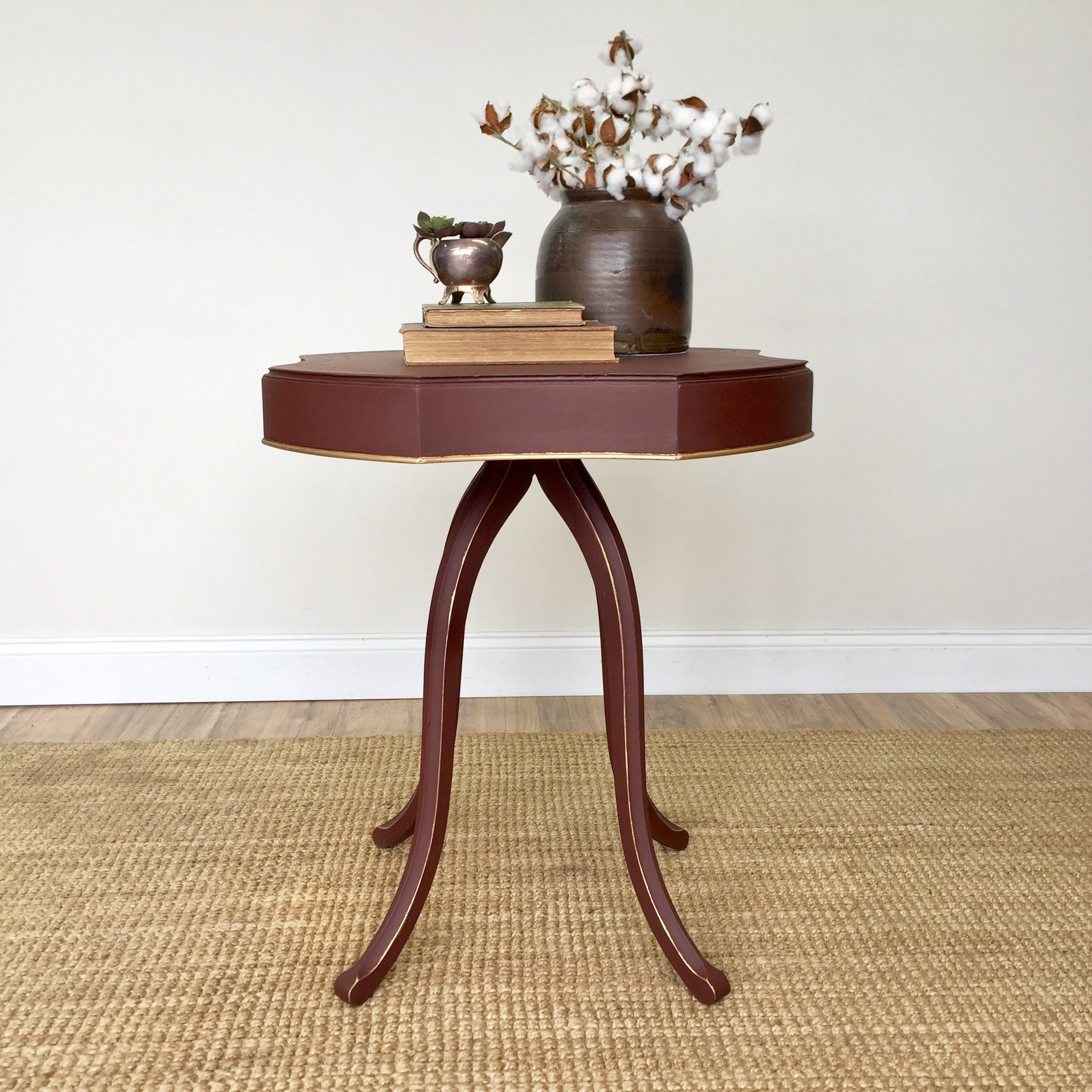 this unique end table with its rich burgundy color will touch between two accent chairs style any room your living the farmhouse dining covers ikea and best patio furniture barn