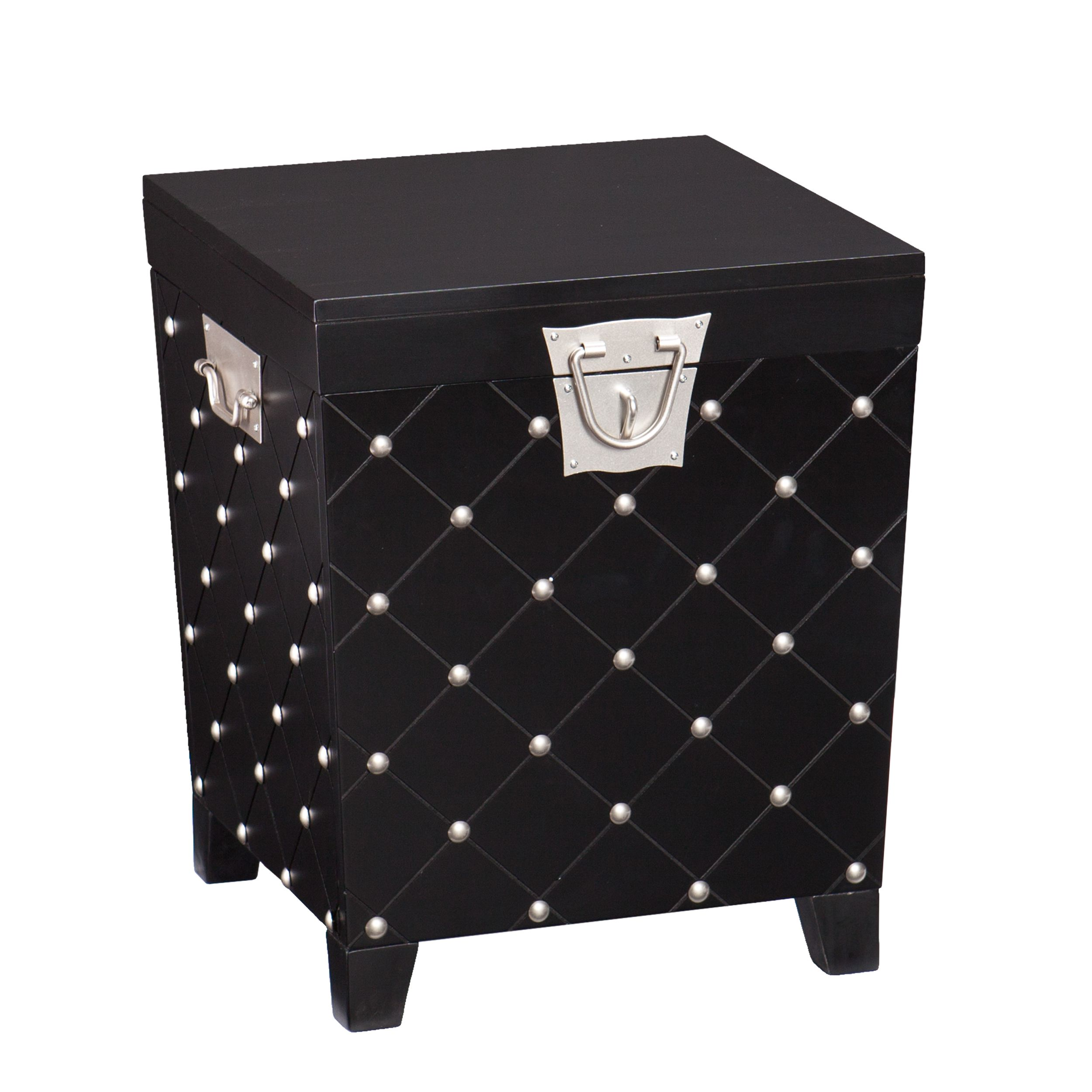 this upton home side end table trunk features sleek black finish accent with nailheads and satin silver nailhead accents the lid lifts reveal large storage area bedroom decoration