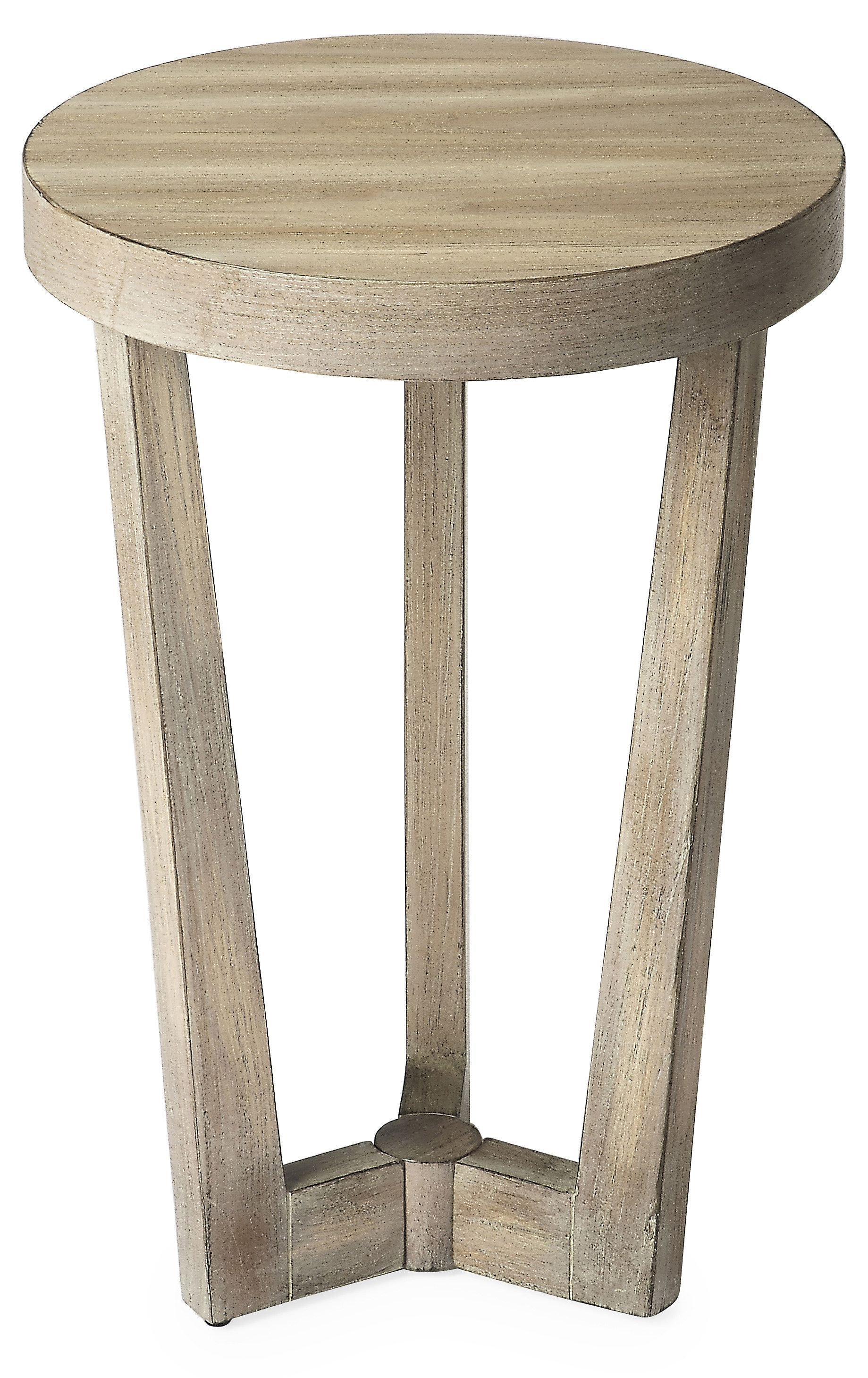 this versatile side table boasts sleek round top and airy open distressed accent frame sealed natural finish complements array color schemes screw legs hardware black metal stools