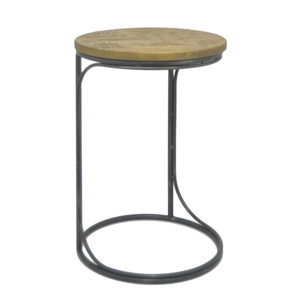 three hands black metal and wood accent table the end tables antique wheels for coffee maritime floor lamp modern white razer ouroboros elite ambidextrous small light mission