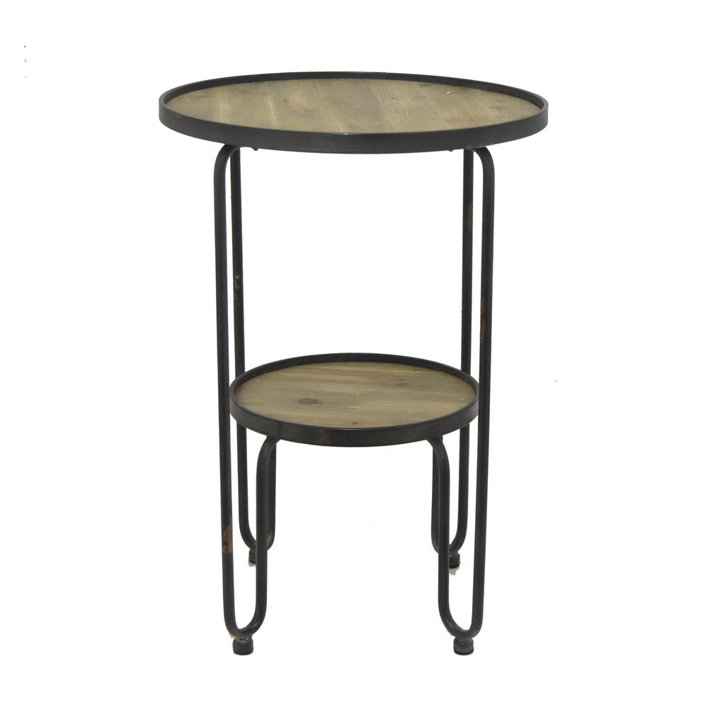 three hands black metal and wood accent table the end tables pulaski display cabinet tall chairs trunk coffee tray queen size garage threshold seal silver lamps nautical pendant