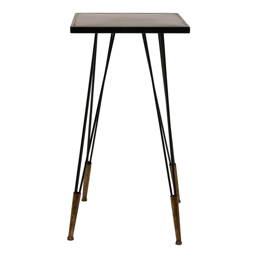 three hands bronze metal accent table the end tables kitchen with chairs hooker pottery barn legs gray and white coffee rustic furniture square marble top homebase garden