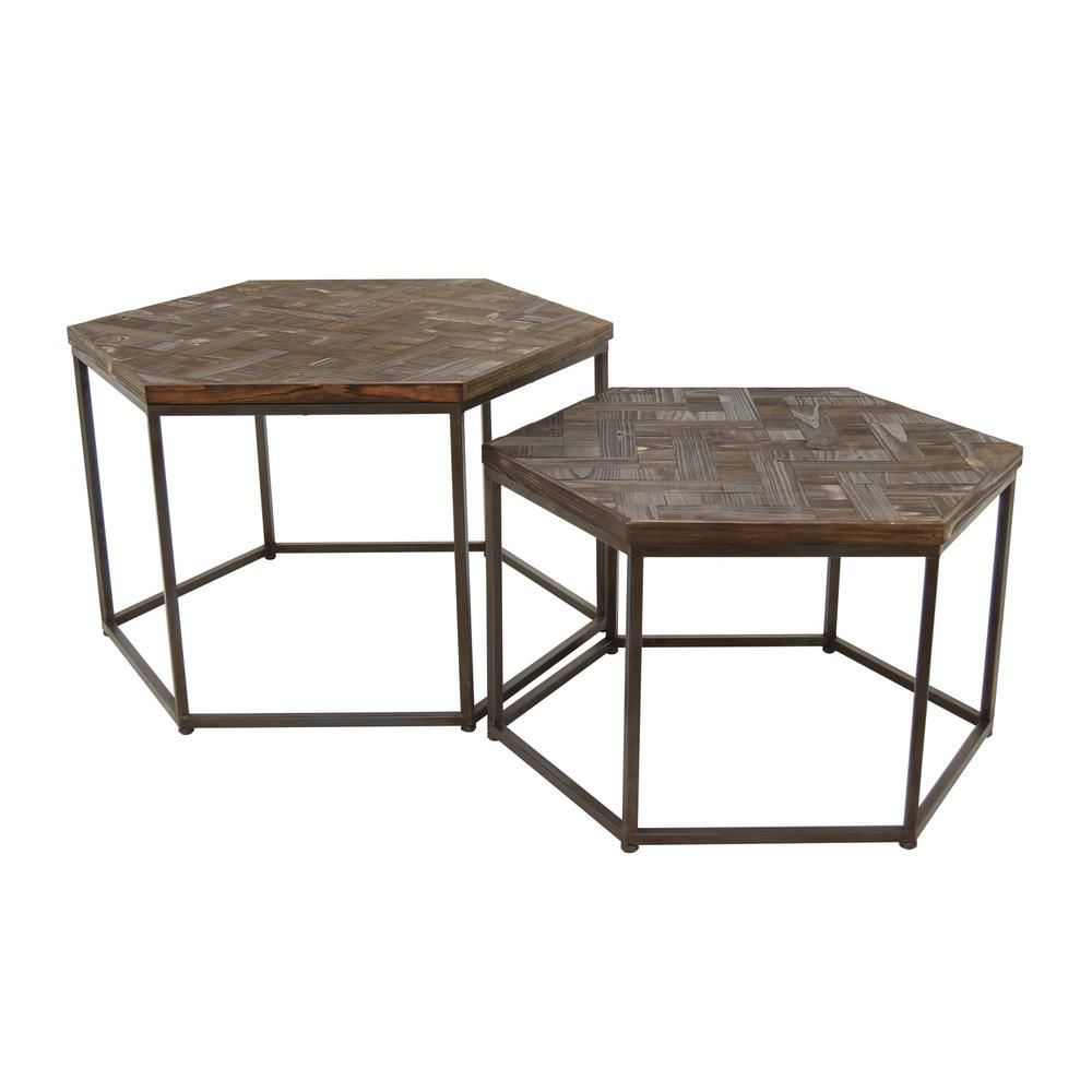 three hands brown wood metal accent table set coffee tables modern target pier one chair covers silver tray free runner patterns vinyl tablecloth counter height chairs cherry