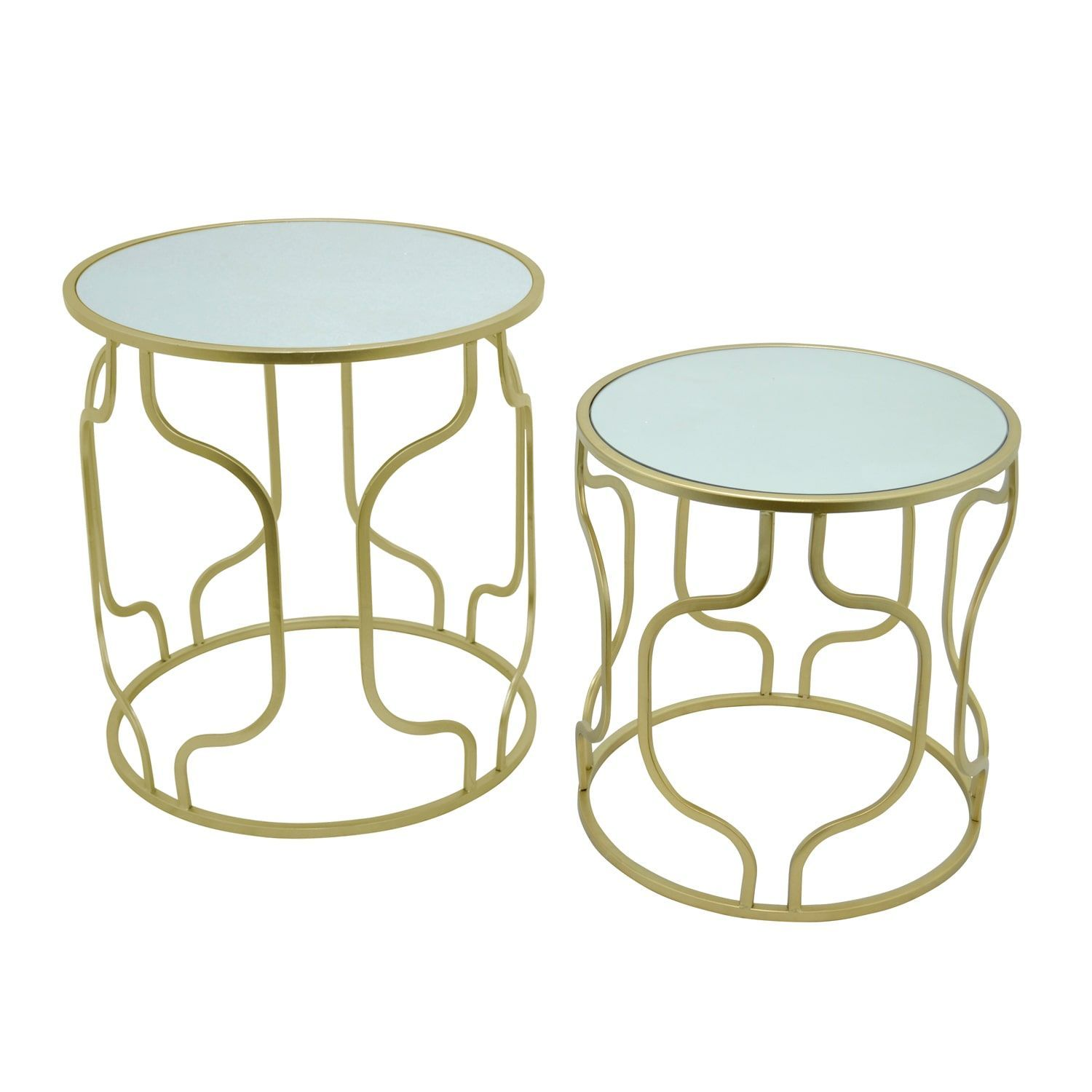 three hands goldtone metal mirror accent table set gold and pottery barn drum small bedside blue white ginger jar lamp kitchen with wine rack tablecloth for inch round entryway