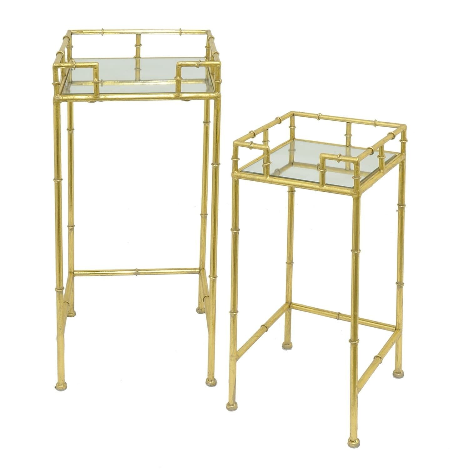 three hands goldtone metal mirrored accent table set gold mirror shelves shabby chic desk step side glass stacking tables safavieh treasures replica retro furniture round outdoor