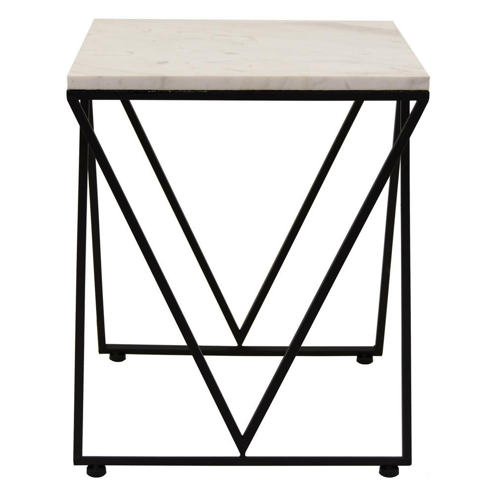 three hands metal and marble accent table the black end tables childrens chairs kmart wrought iron side razer ouroboros elite ambidextrous living room console cabinets teal home