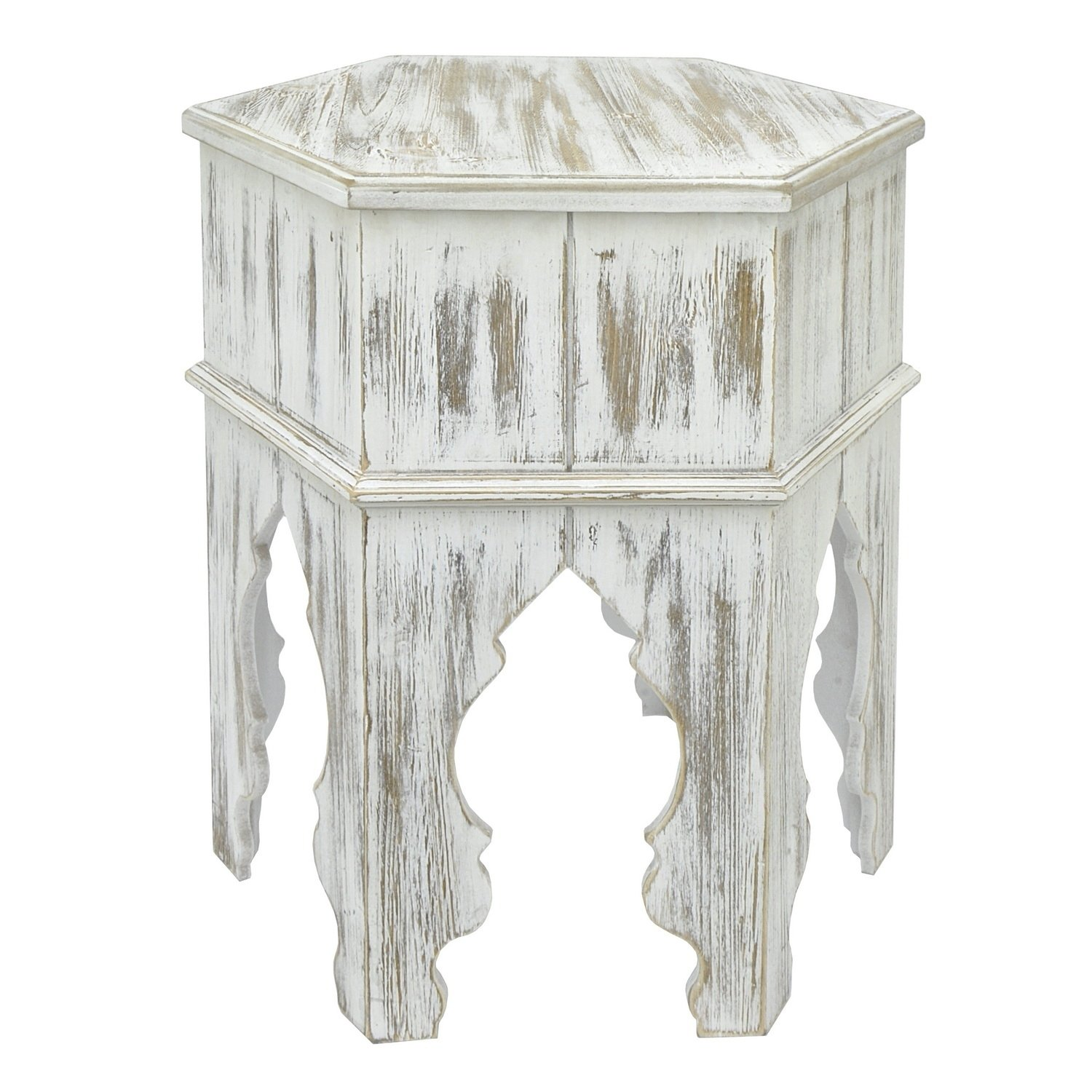 three hands wood moroccan inspired accent table distressed white finish free shipping today ethan allen headboard industrial style coffee tables dining room edmonton round marble