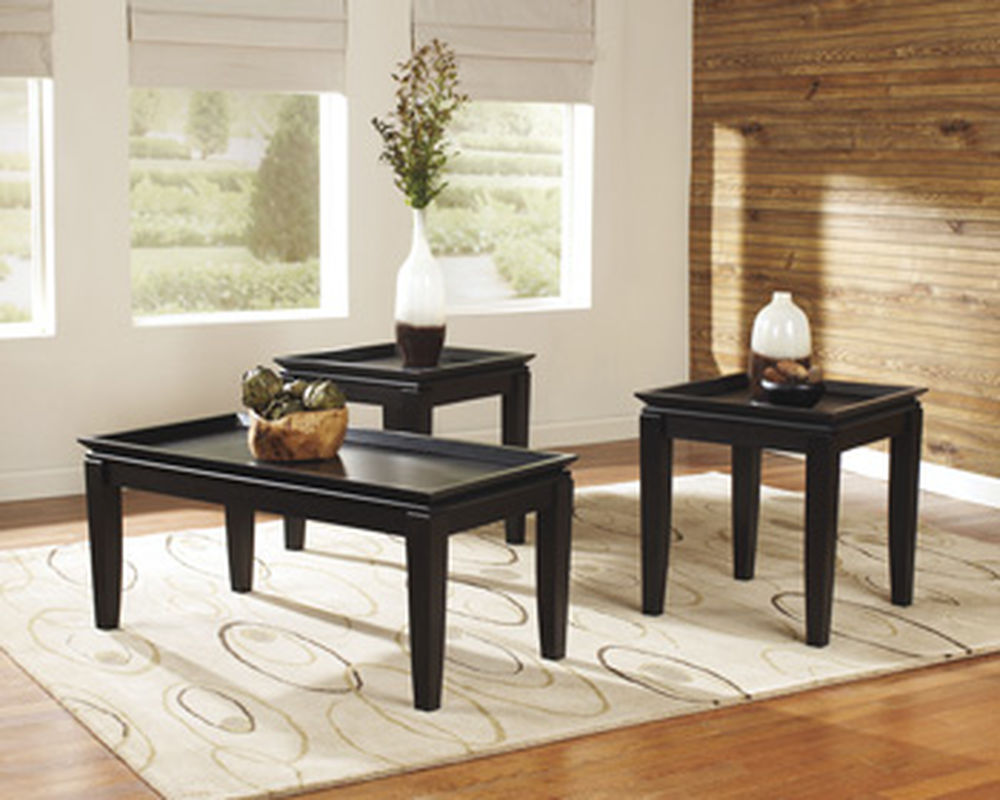 three piece framed tray contemporary accent table set dark brown big tables large patio cover barnwood strip between carpet and wood used furniture knoll edge distressed console