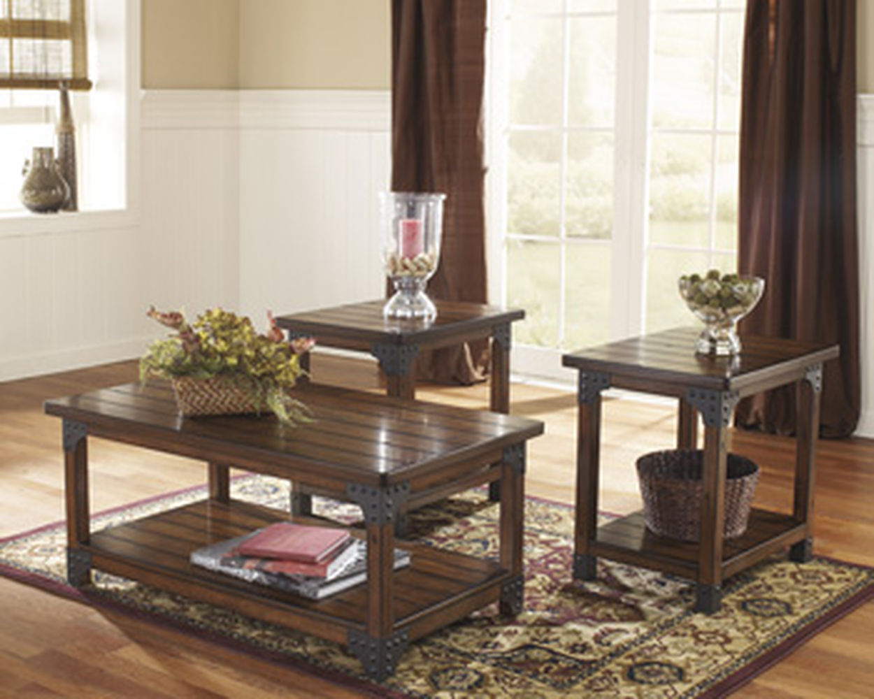 three piece nailhead trim rustic farm house accent table set big living room sets brown coffee end patio dining clearance miniature lamp with basket drawers home goods bedside