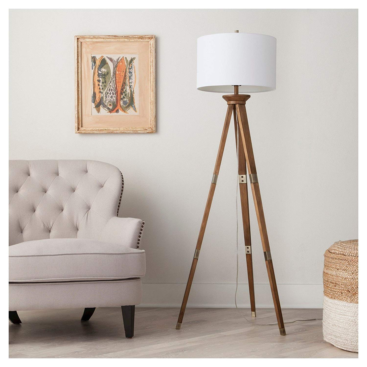threshold oak wood tripod floor lamp brass accent spotlight table west elm faux fur throw target outdoor parasol extendable bedroom lamps with usb ports round dining diy crate end