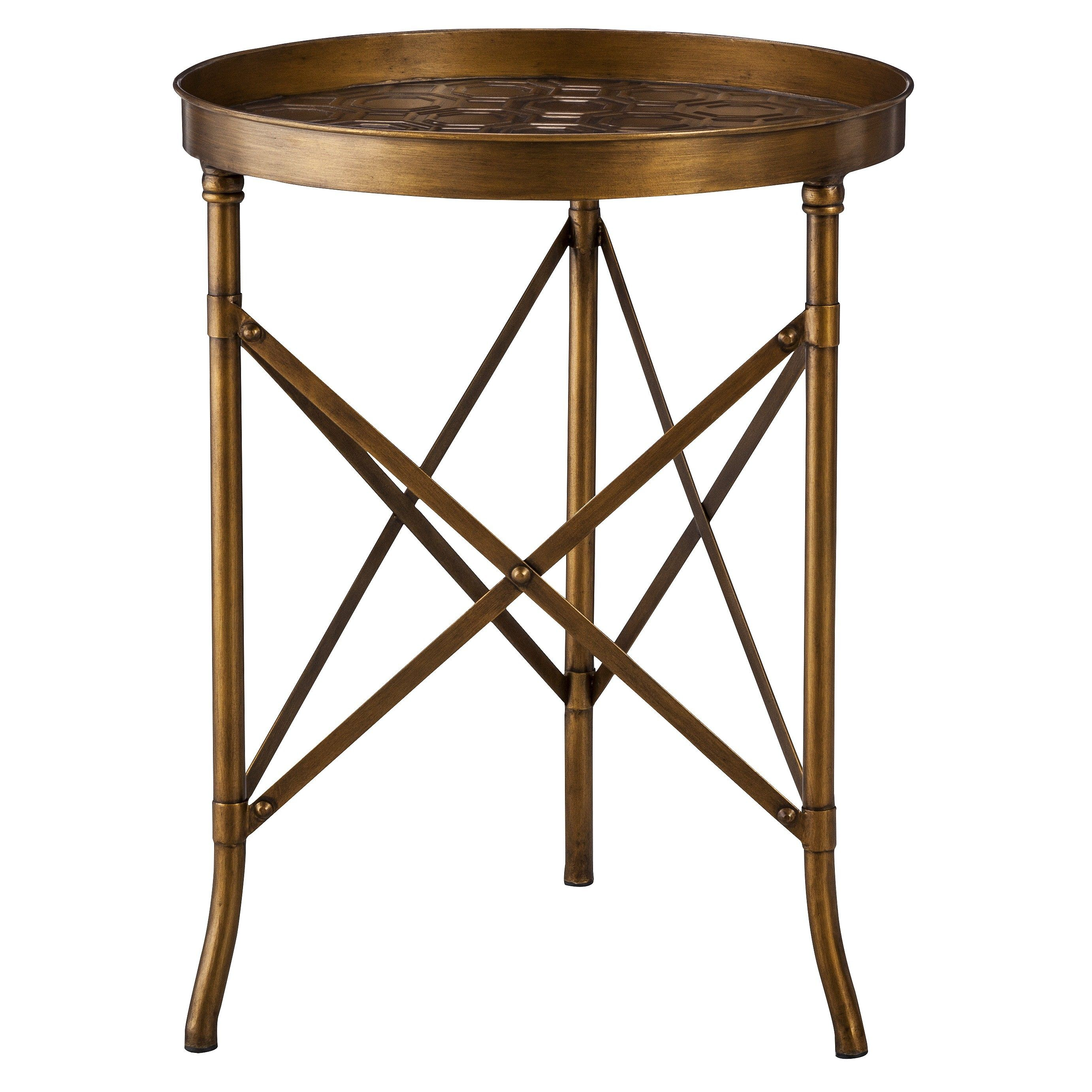 threshold stamped metal accent table gold target nightstand high round dining rustic pedestal small triangle end bedroom chairs arrow cantilever umbrella base big lots kitchen
