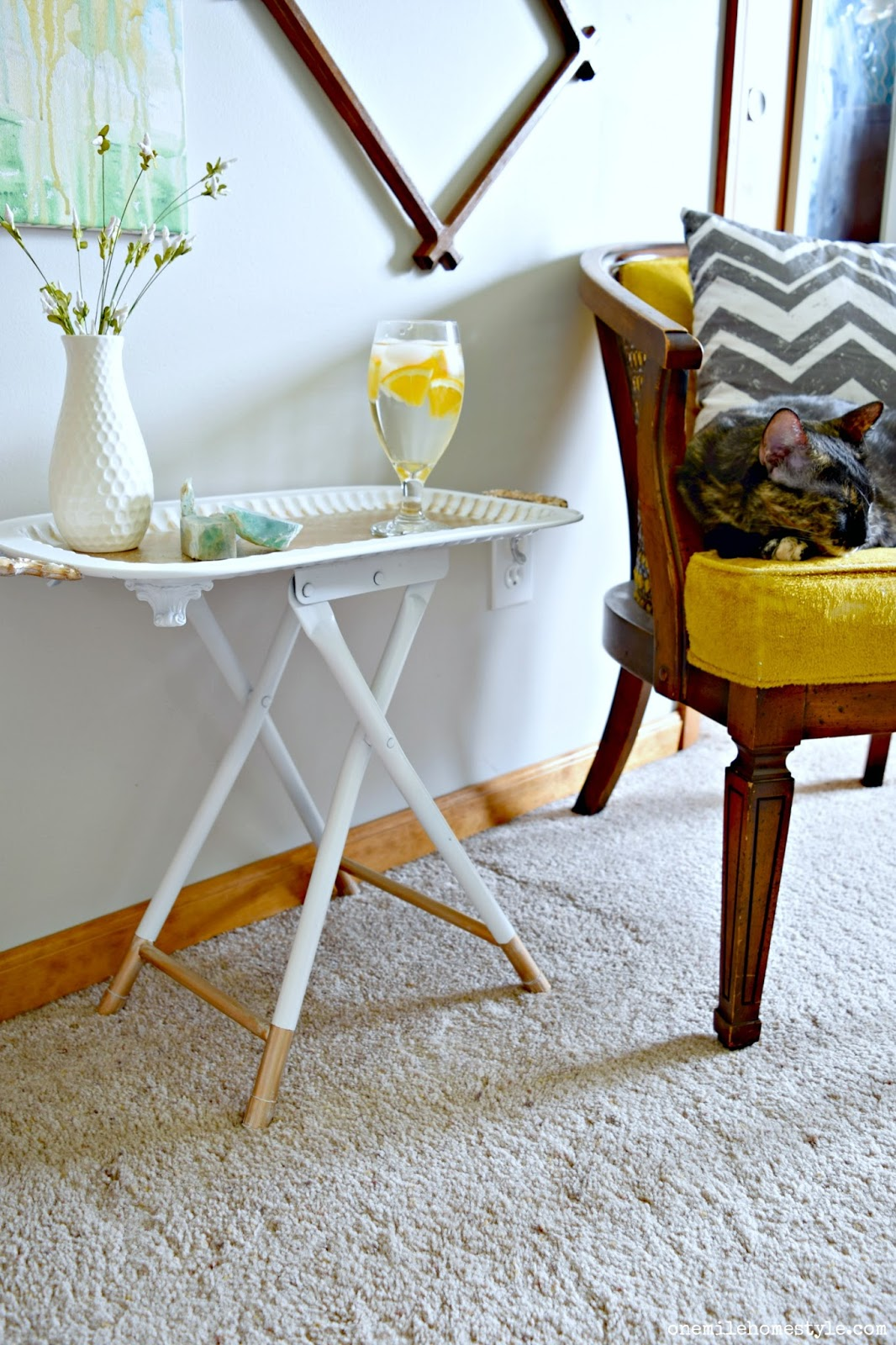 thrift throwdown white and gold accent table dsc edit tray decor how diy stool into gorgeous carpet termination strip pier one chair covers bedside ideas smoked glass side coffee