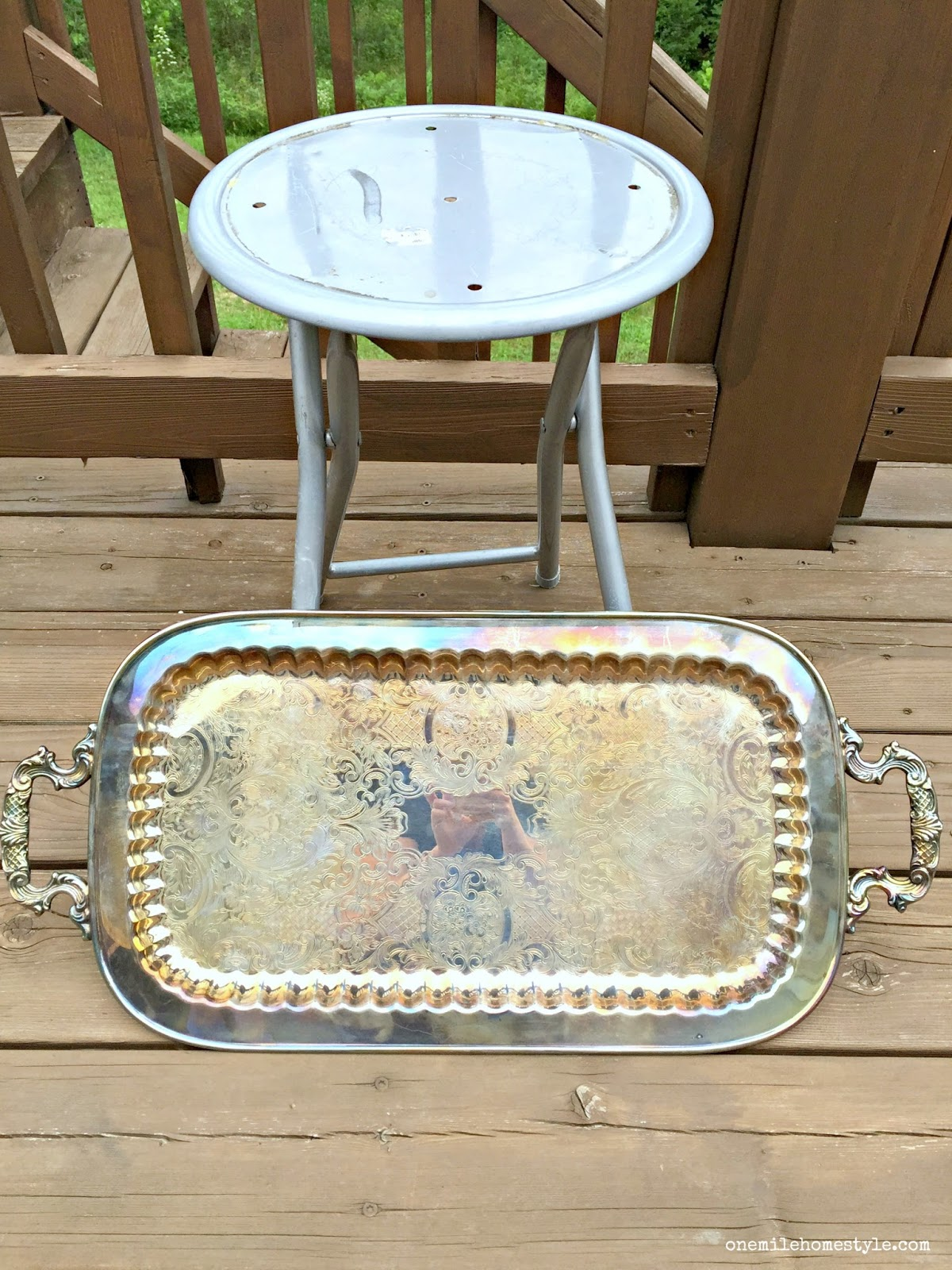 thrift throwdown white and gold accent table preview tray decor turning stool into cute pier one furniture catalog smoked glass side christmas tablecloth runner sets jcp rugs