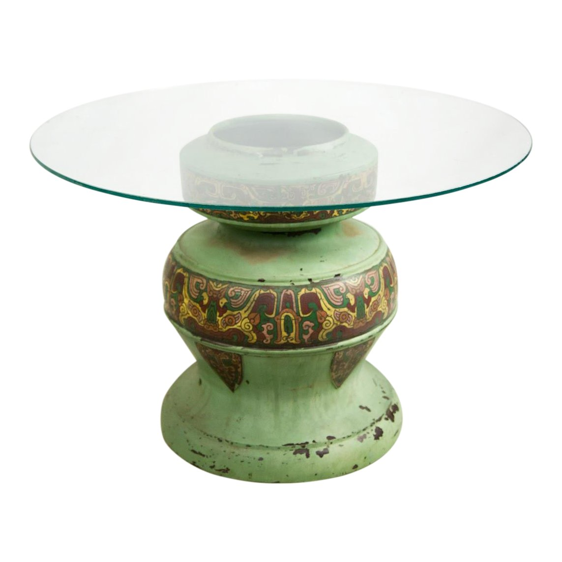 tibetan brass cloisonne with glass top urn accent table chairish drum wrought iron legs office side unfinished furniture round white wood coffee futon covers bath and beyond