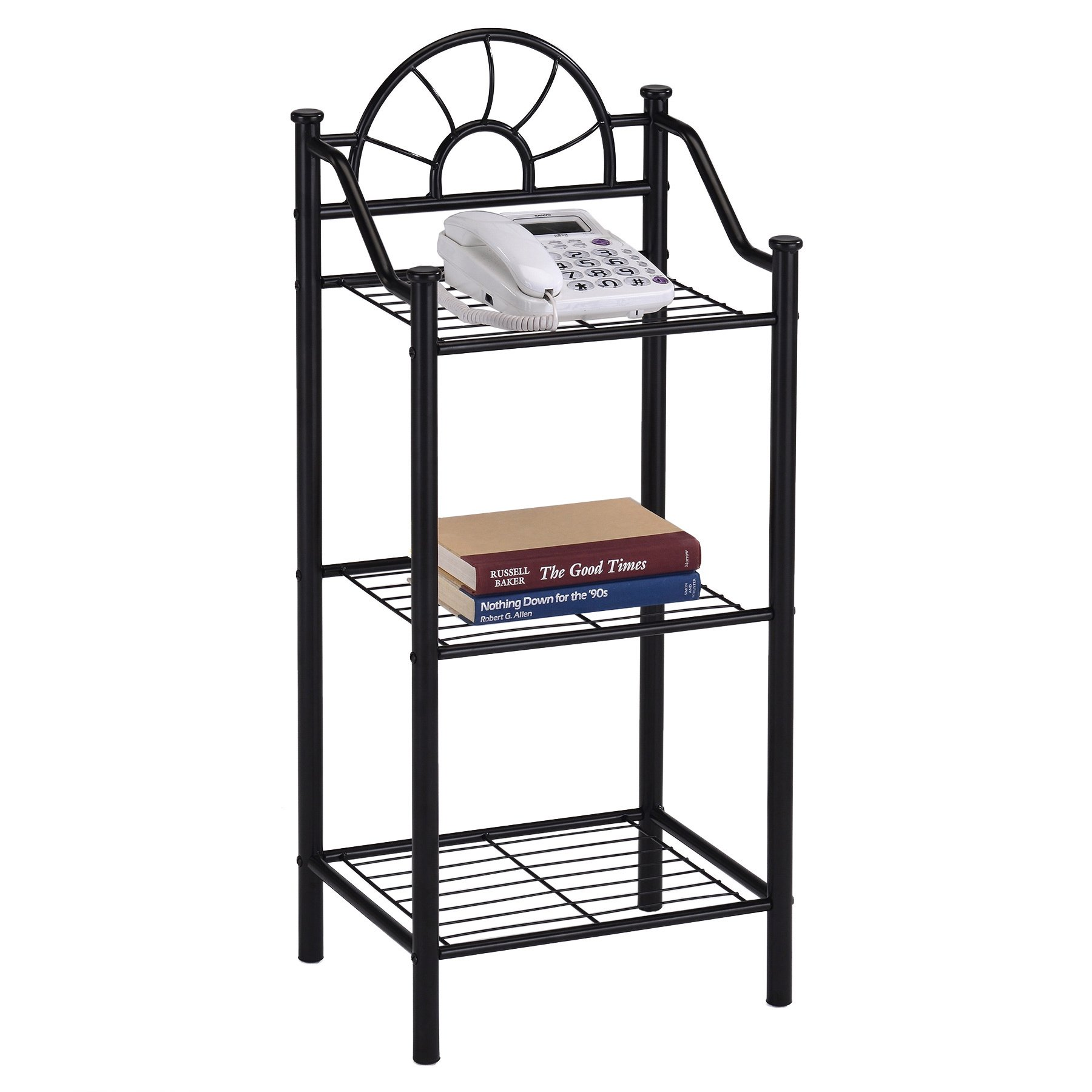 tier metal black finish bookshelf accent phone table free shipping today terrace coffee pier one tures winsome wood end unusual nest tables small entrance pottery barn trunk bar