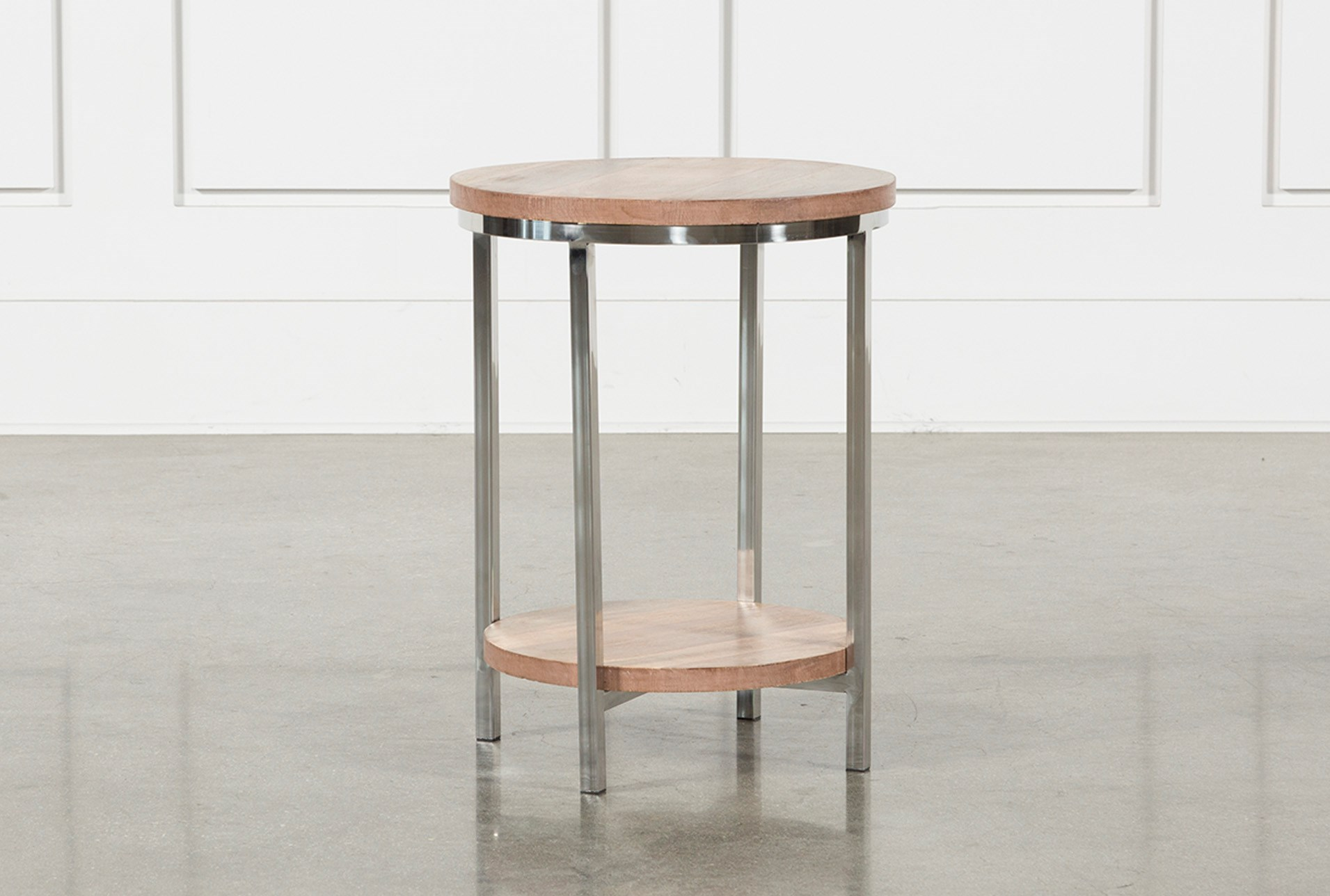 tier round wood and stainless steel accent table living spaces natural tables qty has been successfully your cart hammered metal unfinished coffee maple top small stand ikea