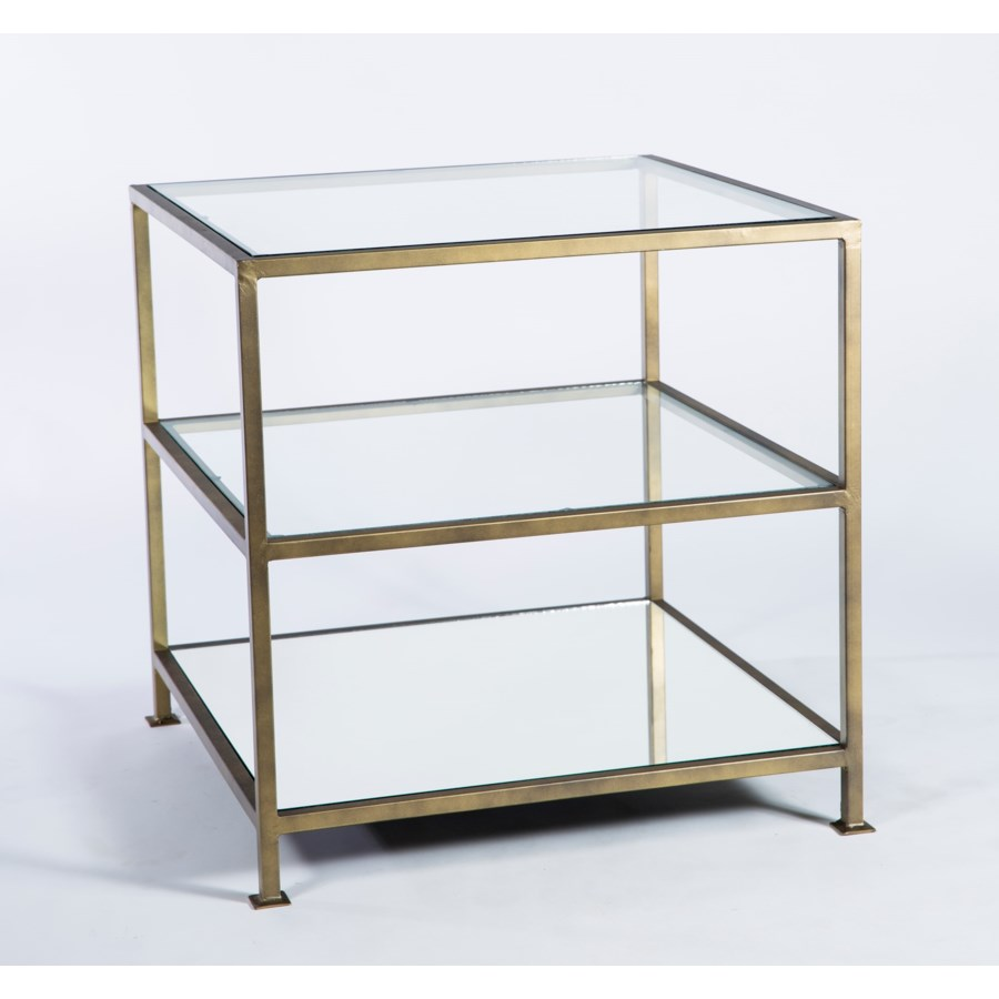 tier square accent table with mirrored top and clear glass shelves drawer usb coffee pond lily lamp pier one furniture dining tables teak chairs narrow entryway kitchen light