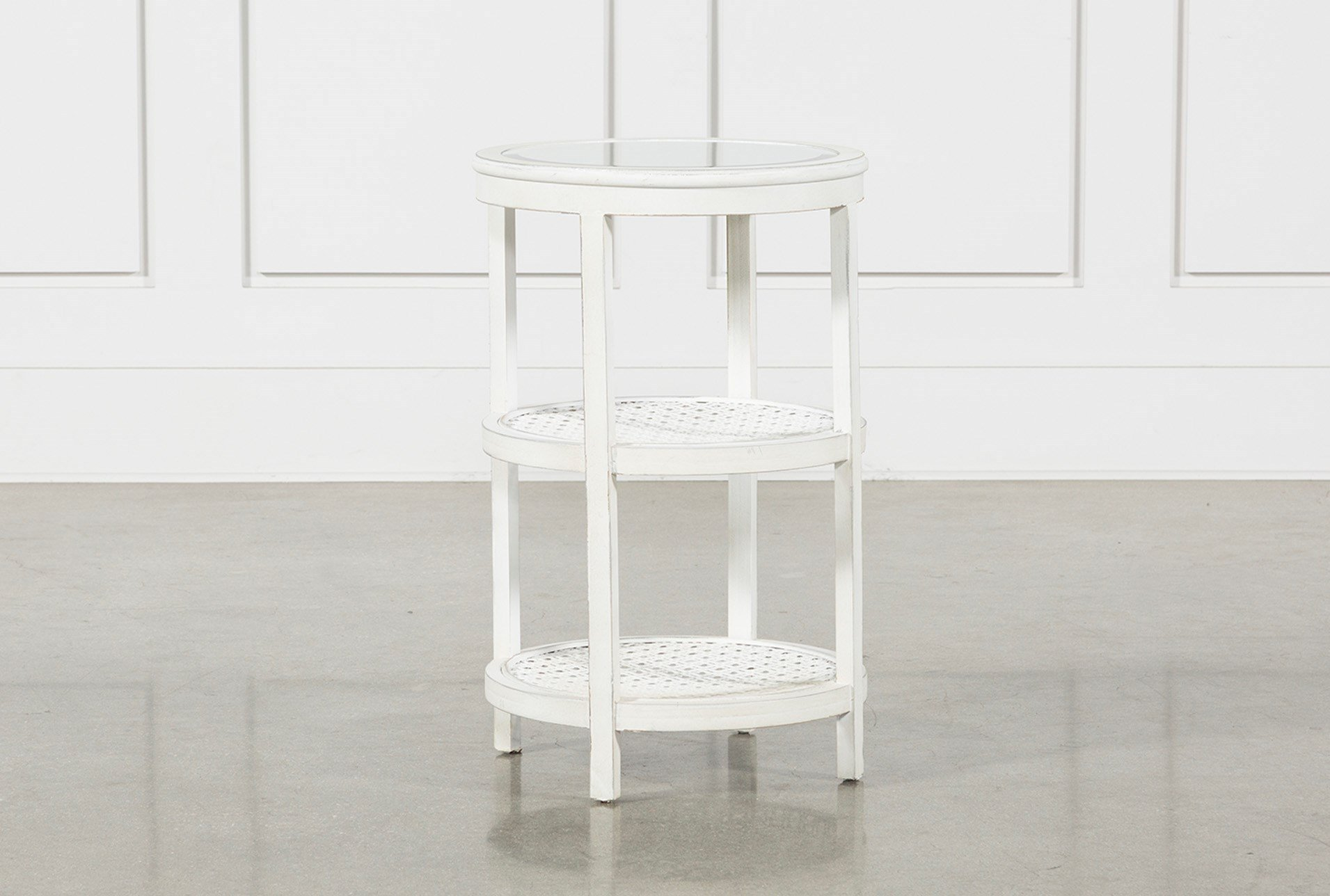 tier white wood and metal glass top accent table living spaces tiered qty has been successfully your cart vintage two kmart kids black wrought iron patio end inch round retro