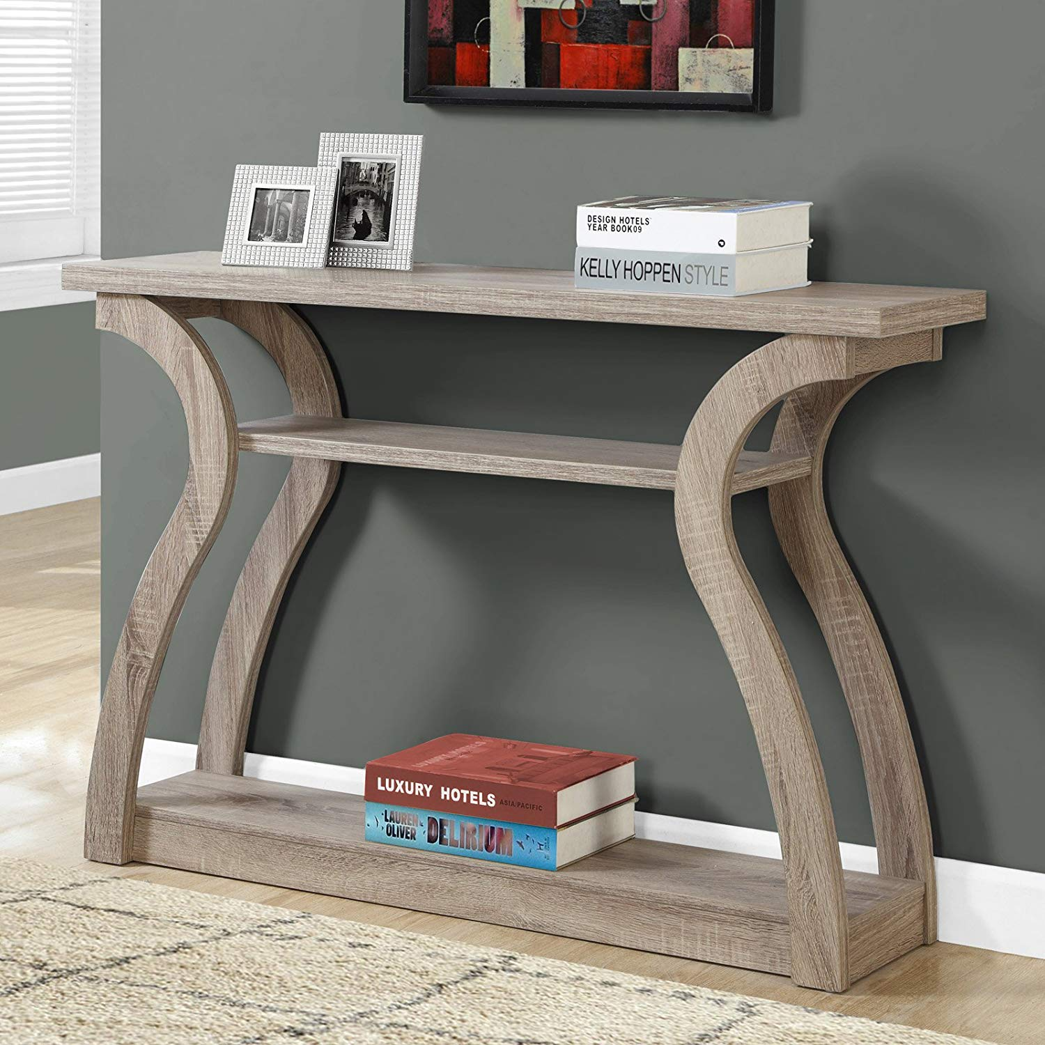tiered curved console table with storage hall accent tables for living room entryway desk organizer three shelves wooden furniture dark taupe finish windham placemats and coasters