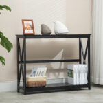 tiers black console table accent tables with storage shelf hallway tier furniture percussion seat threshold windham cabinet inch round cotton tablecloths vintage crystal lamps 150x150