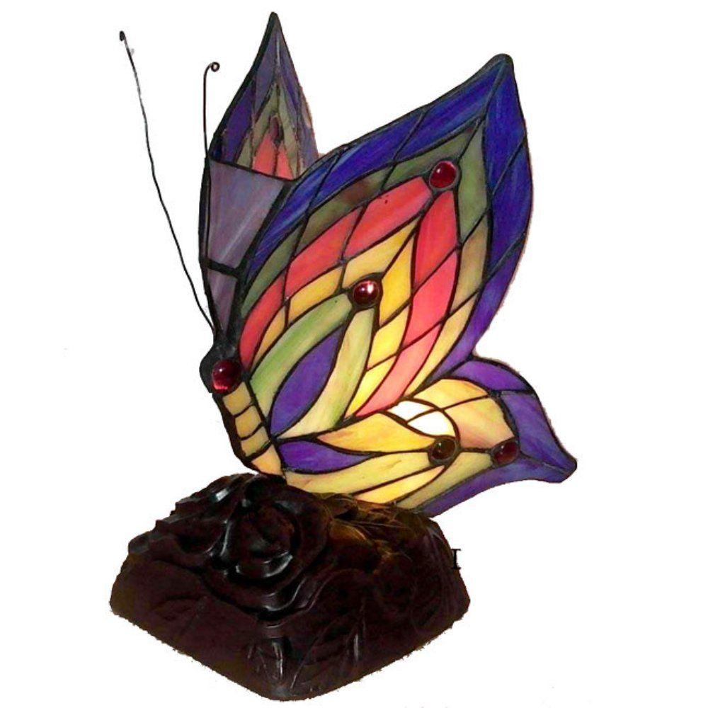 tiffany butterfly brown multicolored accent lamp table lamps glass high set reading chair for bedroom round outside chairs small drop leaf red metal side jeromes furniture oval