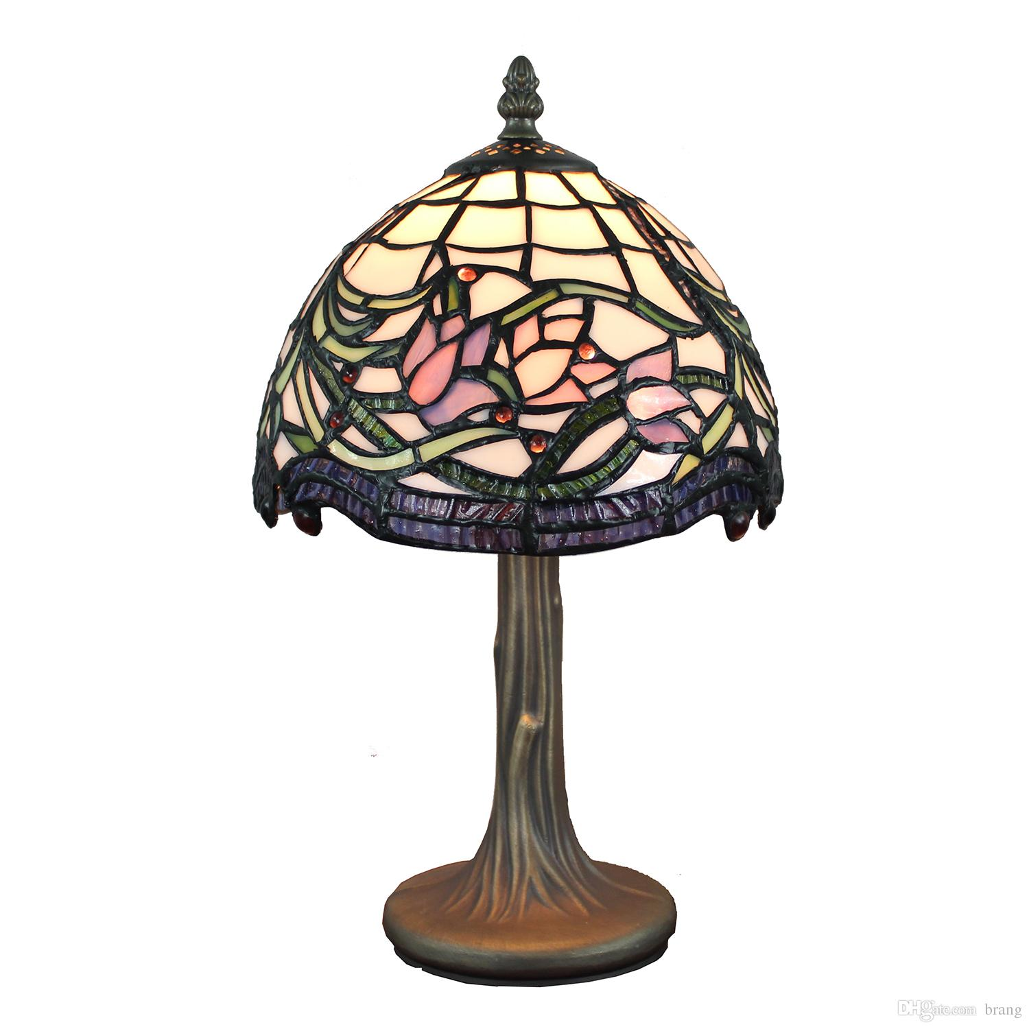 tiffany style lamp stained glass table hand crafted wild accent lamps vine lotus design bedside light from brang dhgate wrought iron frame target decorative chairs antique side