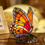 tiffany style stained glass butterfly accent table lamp with handmade shade art pure drawer chest teak dining set bedside lights end tablecloth small drop leaf round christmas 150x150
