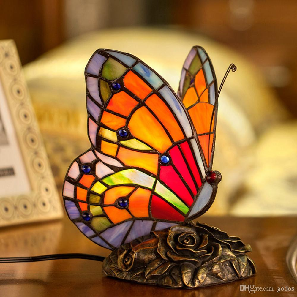 tiffany style stained glass butterfly accent table lamp with handmade shade art pure drawer chest teak dining set bedside lights end tablecloth small drop leaf round christmas